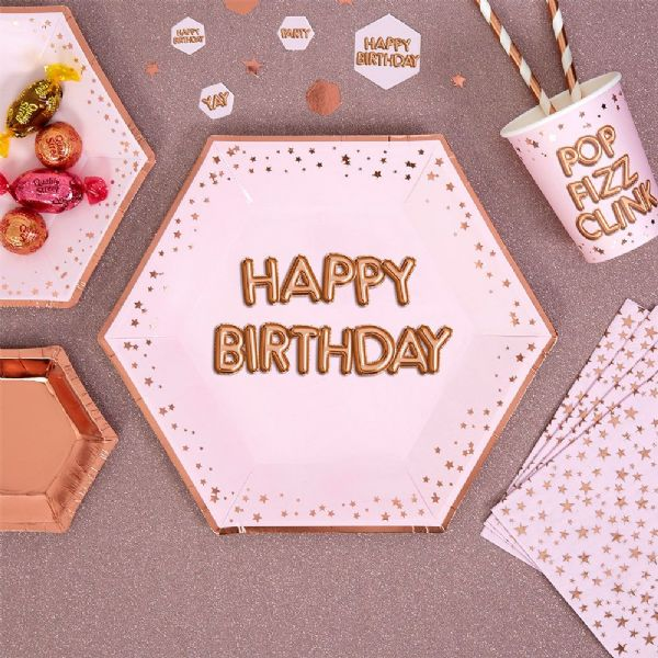 Glitz & Glamour Pink & Rose Gold Large Happy Birthday Plates (8)